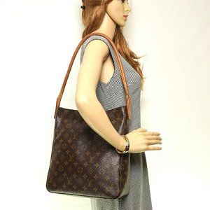 Auth Louis Vuitton Looping Mm Shoulder #4139L17